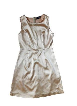 Сатиновое золотистое платье