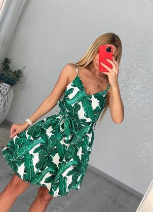 Сарафан платье с листьями тропики