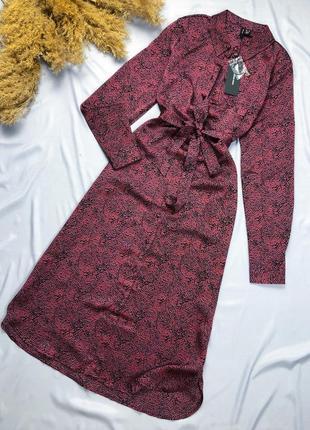 Сатиновое миди платье с поясом