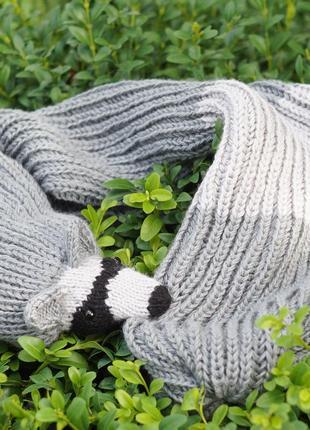В'язаний шарф, шарф з єнотом, шарф з тваринами