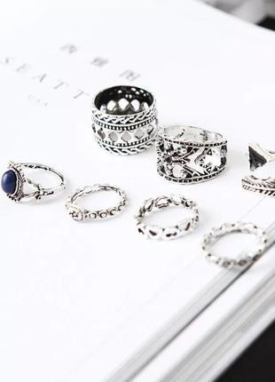 Набор колец 7 шт фаланговые кольца в стиле бохо