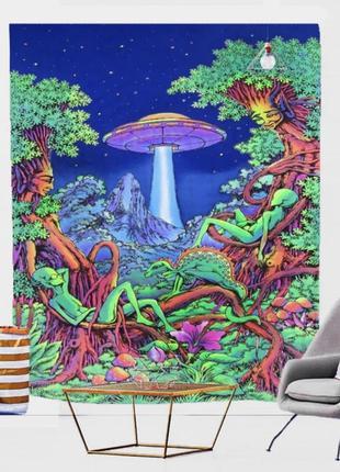 Картина текстильная гобелен на стену инопланетяне