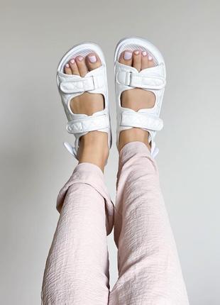 Женские стёганные, дутые сандали на липучках