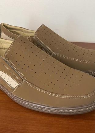 Туфли мужские летние бежевые - туфлі чоловічі літні бежеві