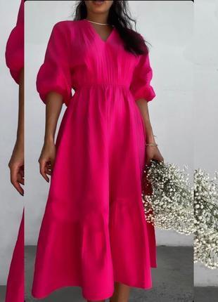Платье малиновое коттон длинное