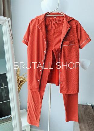 Хлопковая пижама трикотажный набор комплект хлопок домашней одежды рубашка на кнопках и штаны піжама піжами жіночі женская со штанами
