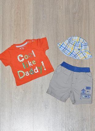 Набор tu 0-1 мес. 0-3 мес комплект летний футболка шорты песочник ромпер шорти панамка