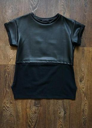 Мега крутая футболка туника с кожей missquided