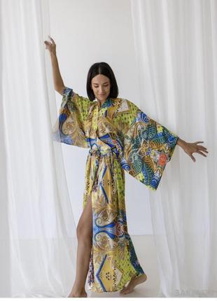 Платье-халат кимоно 42-50 атлас длинный яркий принт