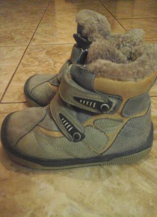 Кожаные зимние сапоги