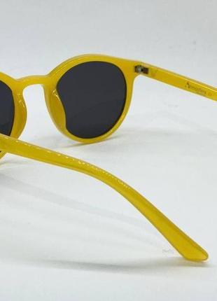 Женские солнцезащитные очки круглые черные линзы в желтой пластиковой оправе4 фото