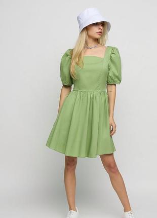 Sale хлопковое платье с квадратным вырезом и пышной юбкой, размер xs-l