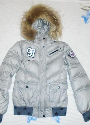 Шикарная ,пуховая куртка на девочку с натуральным мехом