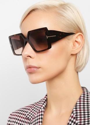 Эксклюзивные брендовые солнцезащитные женские очки квадраты 2021 в черепаховой оправе8 фото