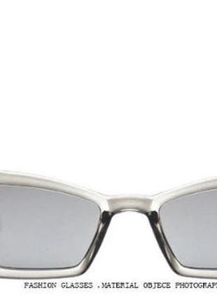 Солнцезащитные очки-лисички полупрозрачные серые с зеркальной линзой