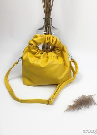 Жовта сумка мішок, женская желтая сумка мешок