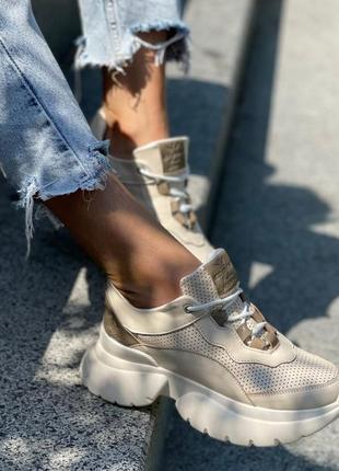 Кроссовки с продуваемой сеткой кожа натуральная