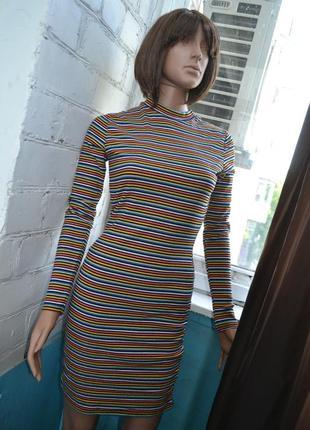 Платье миди в полоску разноцветное