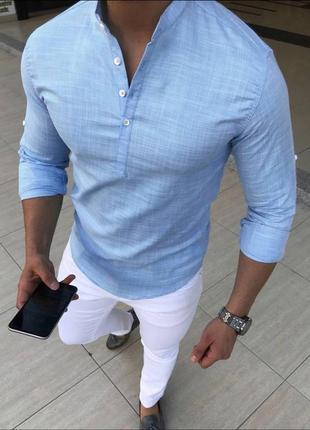 Шикарная льняная рубашка очень легкая с длинным рукавом голубая