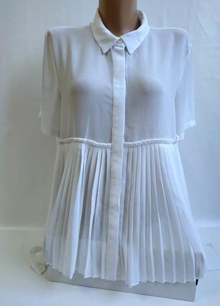 Белоснежная прозрачная блуза , туника спереди гафре united colors of benetton (m)