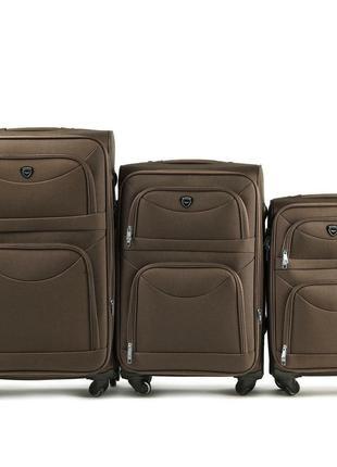 Комплект тканевых чемоданов на 2 колёсах 3 в 1 (s, m, l) wings 6802 ( песочный / yellow )