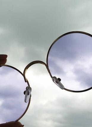 Круглые фиолетовые очки с фиолетовыми линзами   , бузкові круглі окуляри.6 фото