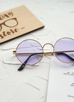 Круглые фиолетовые очки с фиолетовыми линзами   , бузкові круглі окуляри.3 фото