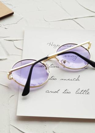 Круглые фиолетовые очки с фиолетовыми линзами   , бузкові круглі окуляри.4 фото