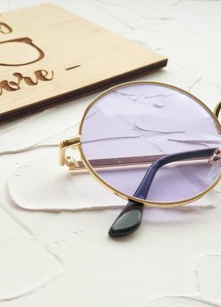 Круглые фиолетовые очки с фиолетовыми линзами   , бузкові круглі окуляри.5 фото