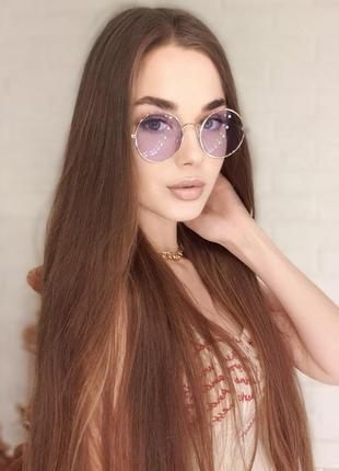 Круглые фиолетовые очки с фиолетовыми линзами   , бузкові круглі окуляри.
