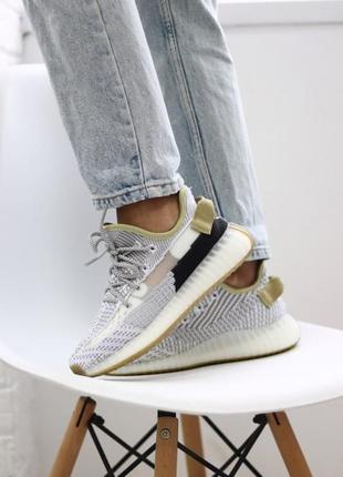 Стильные кроссовки adidas yeezy boost 350 static olive black серые женские / мужские