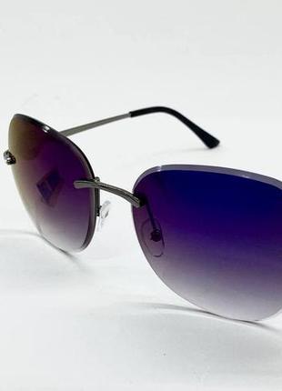 Женские солнцезащитные безободковые очки с синими линзами градиент