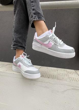 ❤ женские серые  кожаные кроссовки nike air force shadow pink/grey  ❤