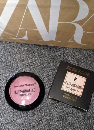 Пудра румяна с шиммером розовая