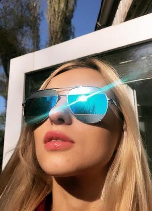 Солнцезащитные очки капли с зеркальной полоской