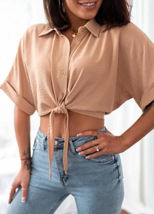Рубашка женская укороченная на завязках топ летний легкий оверсайз