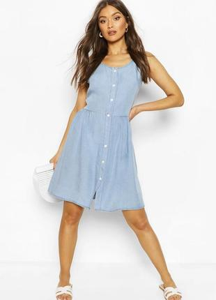 Сарафан блакитний га ґудзиках італія  джинсовый сарафан платье