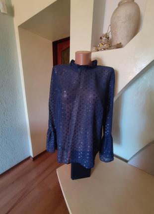 Шикарная очень нарядная лёгкая прозрачная блуза