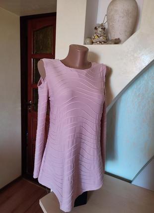 Прекрасная пудровая блузка с оригинальными рукавчиками