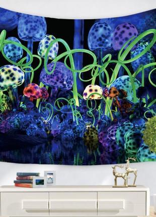 Картина текстильная гобелен на стену грибы №2