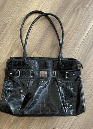 Стильная лаковая сумка в стиле hermes birkin
