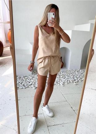 Костюм летний лёгкий льняной шорты на рещинке и шнурке майка футболка повседневный удобный