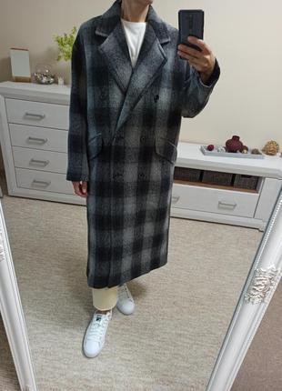 Суперстильное качественное шерстяное пальто zara 100% шерсть прямого свободного силуэта