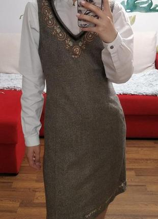 Сарафан платье шерстяное серое с вышивкой esprit