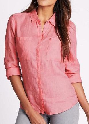 Рубашка льняная персиковая красивая marks&spencer uk 12/40/m