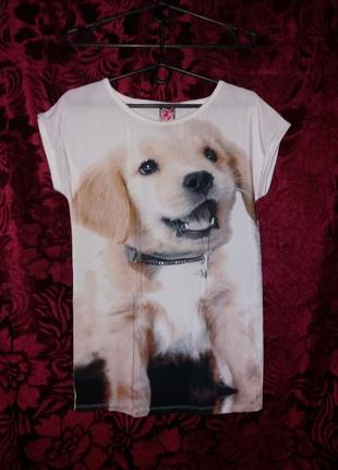Свободная длинная футболка, туника, с принтом щеночек