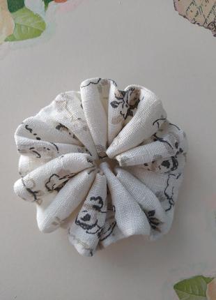 Скранч резинка для волос из льна браслет резинка из ткани ручная работа