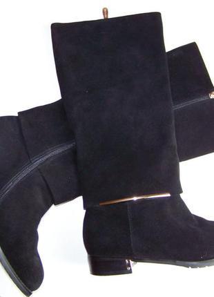 Натуральные замшевые черные сапоги в оригинальном дизайне тм broccoli 38 размер