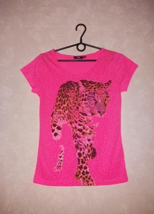 Яркая футболка с принтом леопарда, свободная футболка, неон