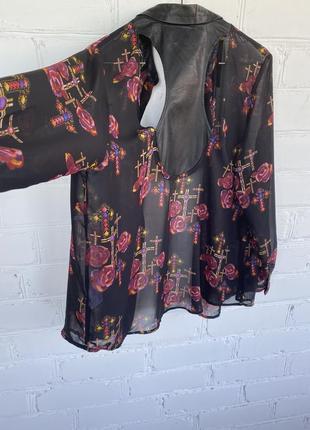 Блуза, легкая рубашка с отделкой из кожзама neon rose
